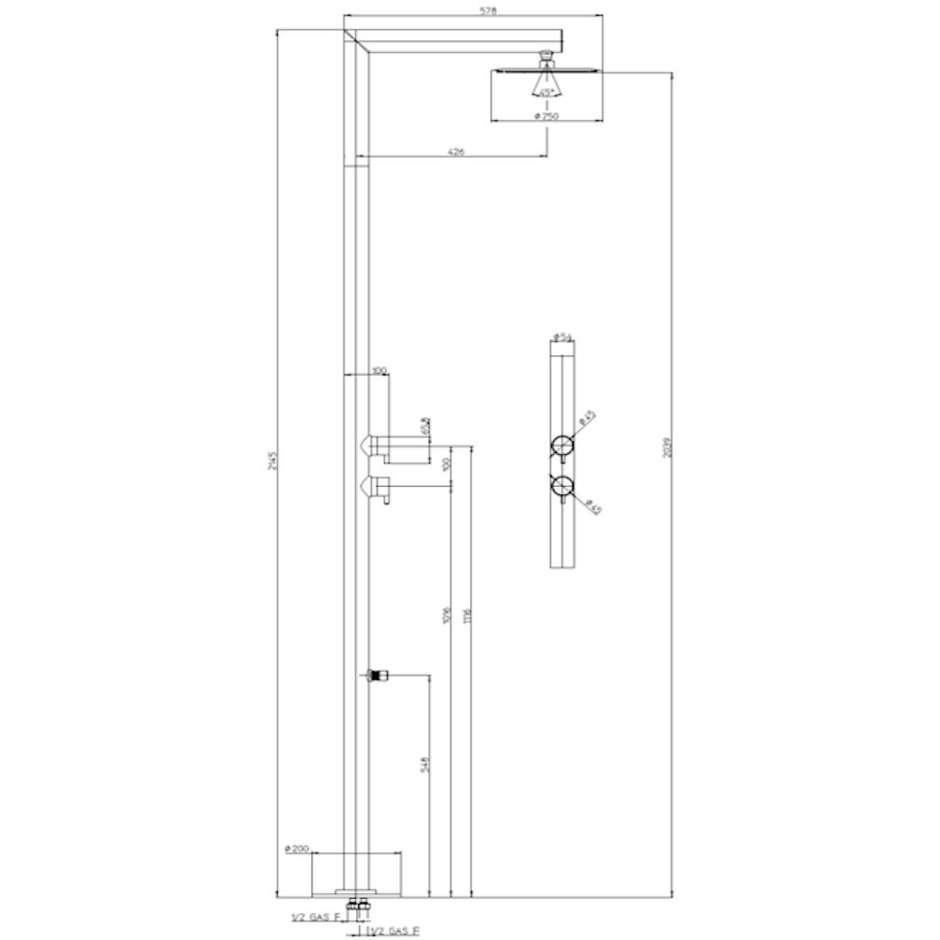 Colonna doccia da esterno in acciaio inox, con soffione tondo diametro 30 cm e miscelatore progressivo - Nek, Bossini