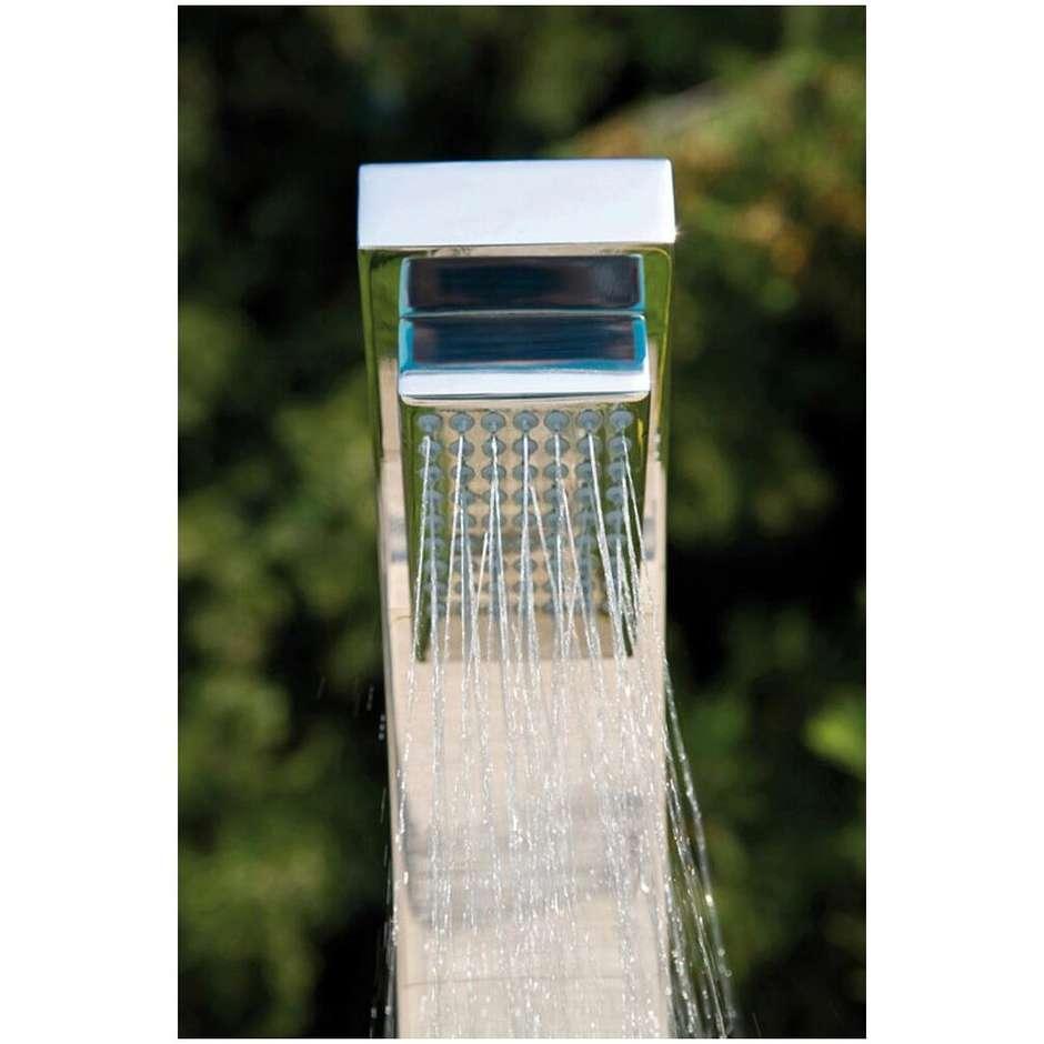 Colonna doccia da esterno squadrata in acciaio inox, con doccetta di servizio e miscelatori progressivi - Arch, Bossini