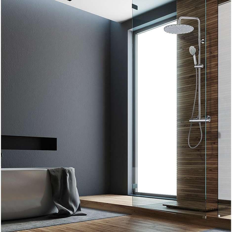 Colonna doccia elegante, cromata a muro, soffione rotondo diametro 30 cm, con asta saliscendi a 3 funzioni e miscelatore - Paris, Bossini