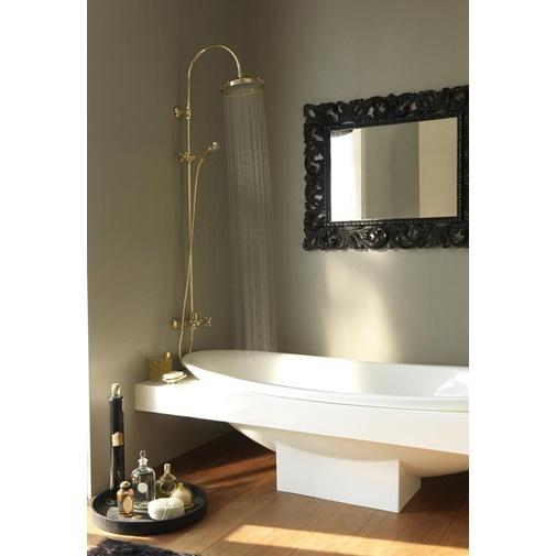 Colonna doccia in stile old england, con soffione rotondo 23 cm, doccetta saliscendi integrata e rubinetteria, cromo - Retrò, Bossini