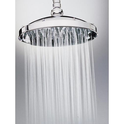 Colonna doccia in stile old england, con soffione rotondo 23 cm, doccetta saliscendi integrata e rubinetteria, nikel spazzolato - Retrò, Bossini