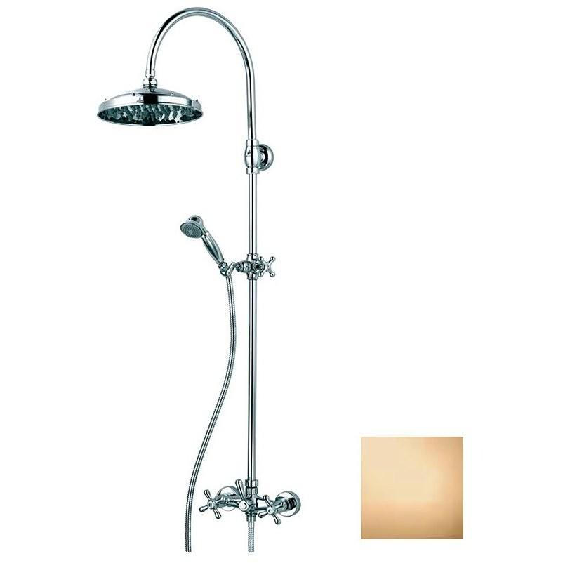 Colonna doccia in stile old england, con soffione rotondo 23 cm, doccetta saliscendi integrata e rubinetteria, ottone anticato - Retrò, Bossini