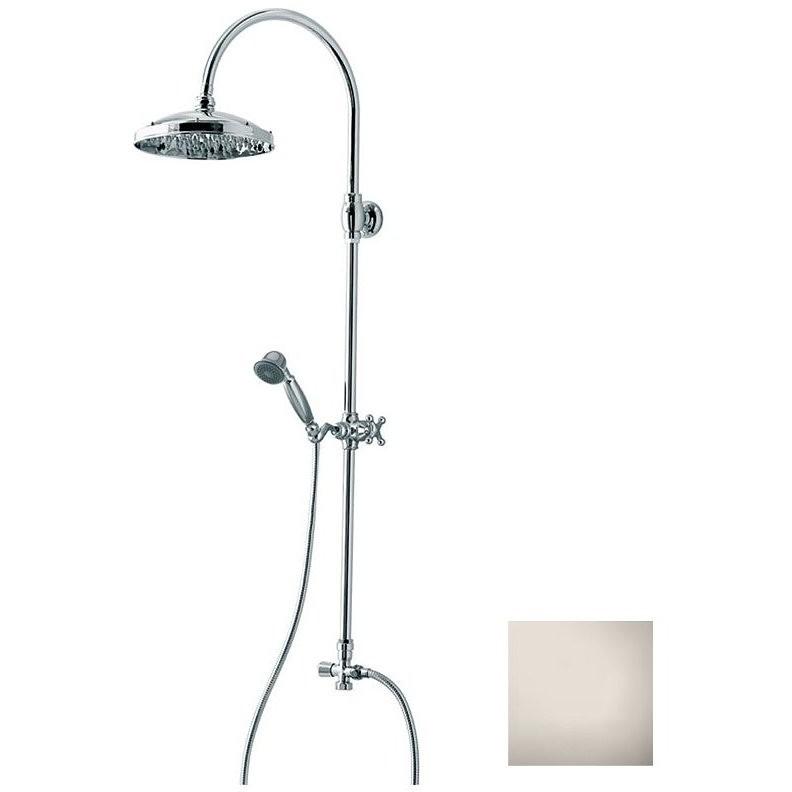 Colonna doccia in stile old england, con soffione rotondo 23 cm e doccetta saliscendi integrata, nikel spazzolato - Retrò, Bossini
