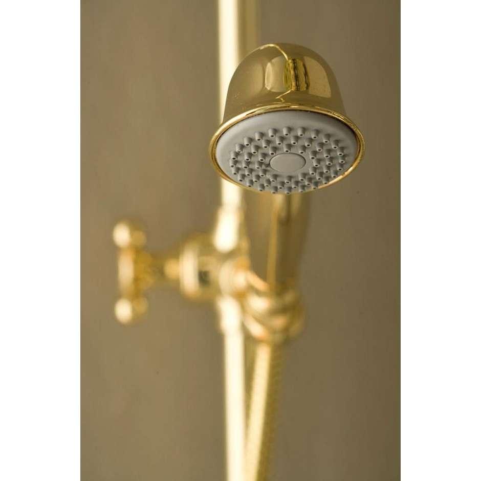 Colonna doccia in stile old england, con soffione rotondo 23 cm e doccetta saliscendi integrata, oro - Retrò, Bossini