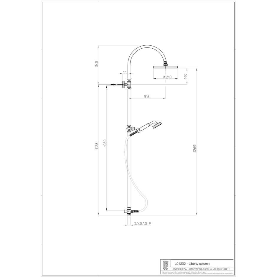 Colonna doccia in stile vittoriano, con asta saliscendi, soffione rotondo 21 cm, cromo - Liberty, Bossini
