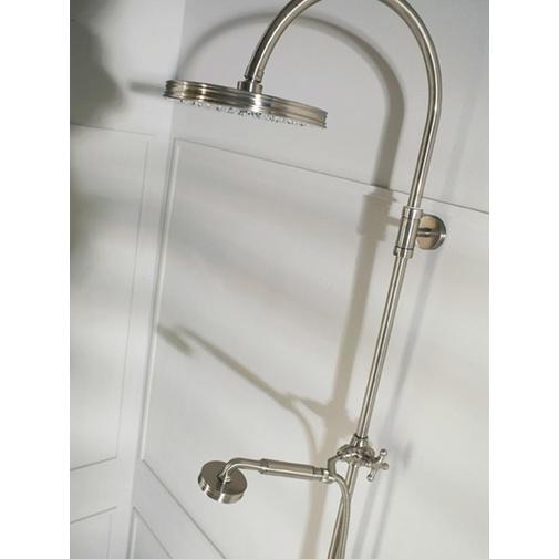 Colonna doccia in stile vittoriano, con asta saliscendi, soffione rotondo 21 cm e rubinetteria, nikel spazzolato - Liberty, Bossini