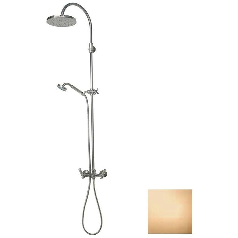 Colonna doccia in stile vittoriano, con asta saliscendi, soffione rotondo 21 cm e rubinetteria, oro - Liberty, Bossini