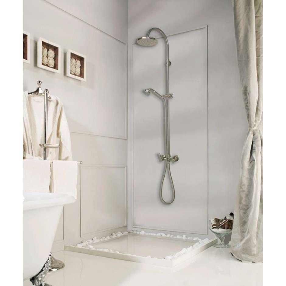 Colonna doccia in stile vittoriano, con asta saliscendi, soffione rotondo 21 cm e rubinetteria, ottone anticato - Liberty, Bossini