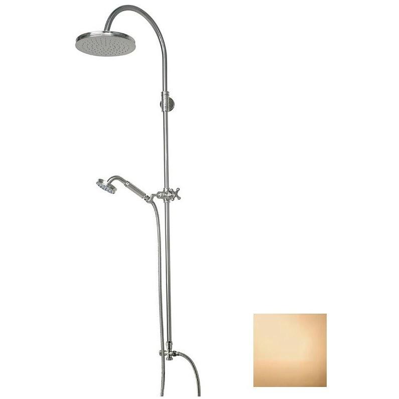 Colonna doccia in stile vittoriano, con asta saliscendi, soffione rotondo 21 cm, ottone anticato - Liberty, Bossini