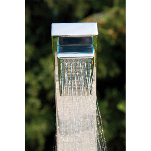 Colonna doccia moderna, da esterno squadrata in acciaio inox, con rubinetto lavapiedi  e miscelatori progressivi - Arch, Bossini