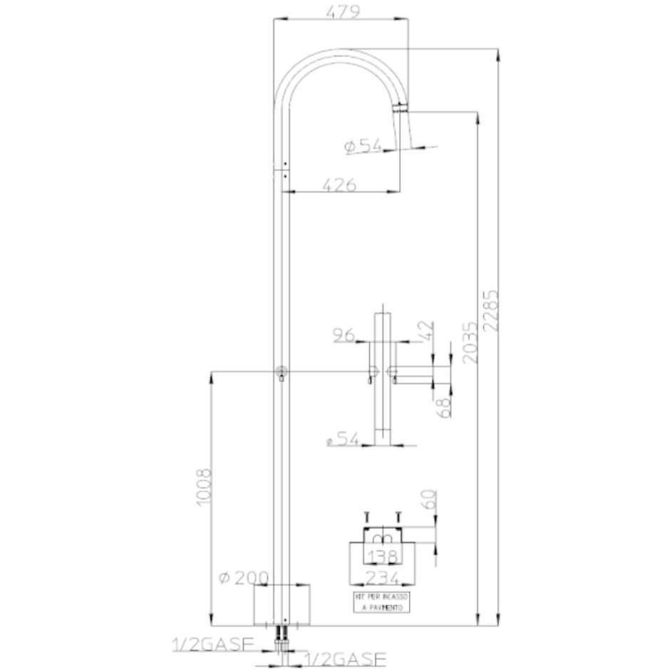Colonna per doccia da esterno cilindrica con rubinetti caldo-freddo, acciaio inox - Pool, Bossini