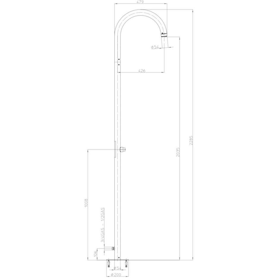 Colonna per doccia da esterno cilindrica con rubinetto a tempo, alimentazione acqua esterna, acciaio inox - Pool, Bossini