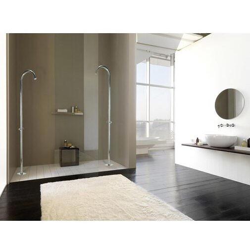 Colonna per doccia da esterno cilindrica con rubinetto di arresto solo acqua fredda, alimentazione acqua esterna, acciaio inox - Pool, Bossini