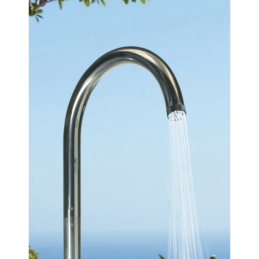 Colonna per doccia da esterno cilindrica con rubinetto lavapiedi, miscelatori progressivi, acciaio inox - Pool, Bossini