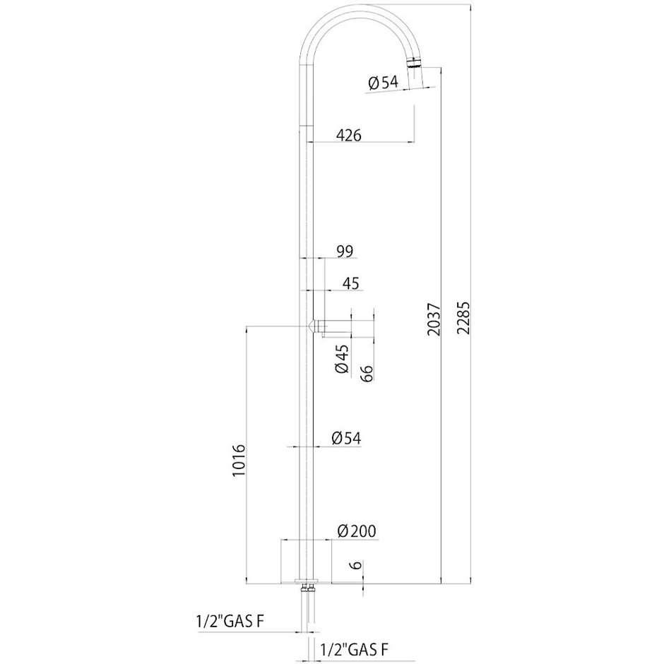 Colonna per doccia da esterno cilindrica, miscelatore progressivo, acciaio inox - Pool, Bossini