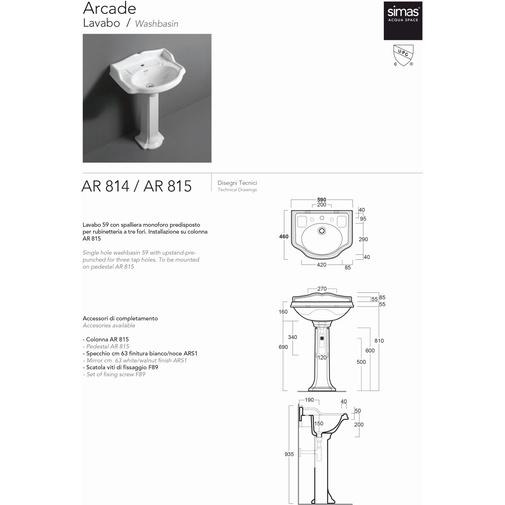 Colonna per lavabo AR814 in ceramica bianca - Arcade, Simas