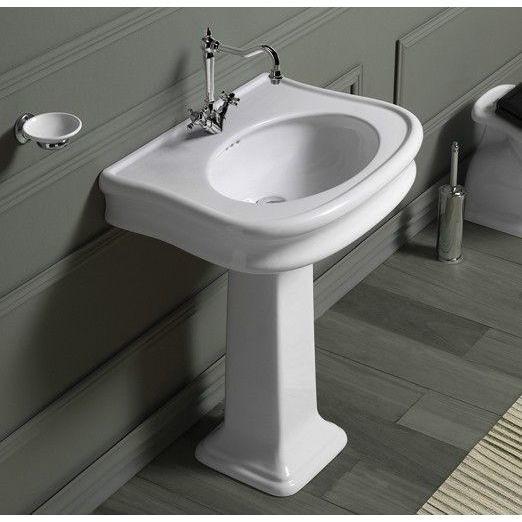 Colonna per lavabo LA03 stile classico in ceramica bianca - Lante, Simas