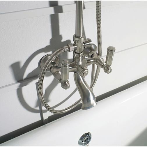 Colonna vasca/doccia in stile vittoriano, con asta saliscendi, soffione rotondo 21 cm e rubinetteria, oro - Liberty, Bossini