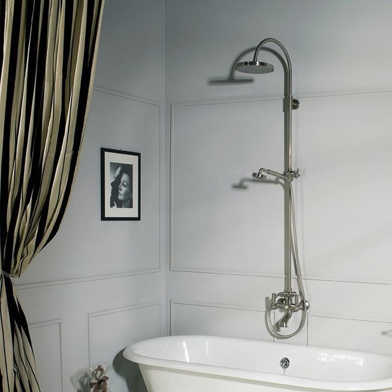 Colonna vasca/doccia in stile vittoriano, con asta saliscendi, soffione rotondo 21 cm e rubinetteria, ottone anticato - Liberty, Bossini