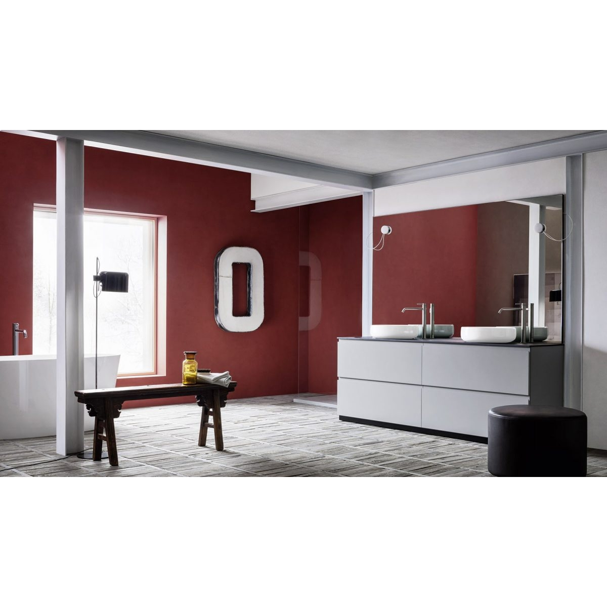 Elegante Mobile Bagno Moderno Con Doppio Lavabo Della Collezione Street By Arbi Arredobagno Composizione Completa Di Due Lavabi Mobile E Specchio