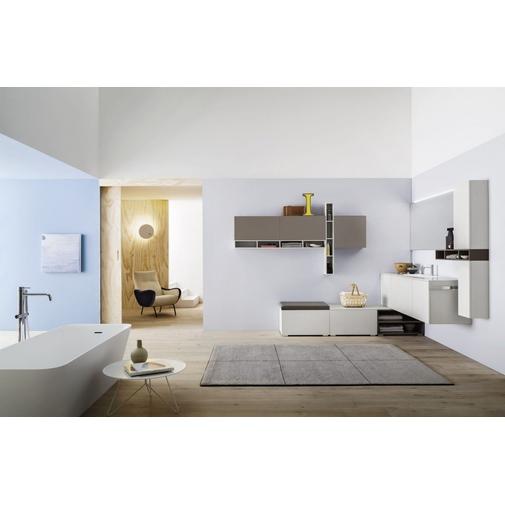Composizione bagno angolare con mobile lavabo, pensili e specchiera - Inka, Arbi Arredobagno