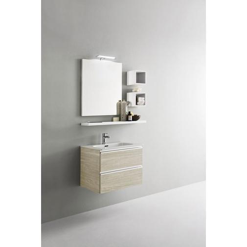 Composizione bagno compatta con mobile lavabo, mensole e specchio 60x45 cm - Home 52, Arbi Arredobagno