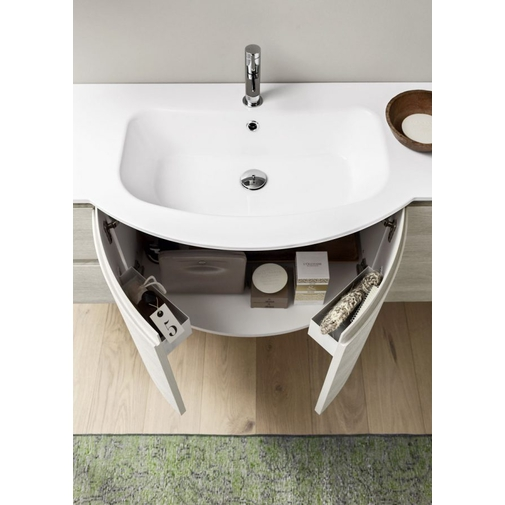 Composizione bagno compatta curva con mobile lavabo, specchio e pensile 140 cm - Fusion 8, Arbi Arredobagno
