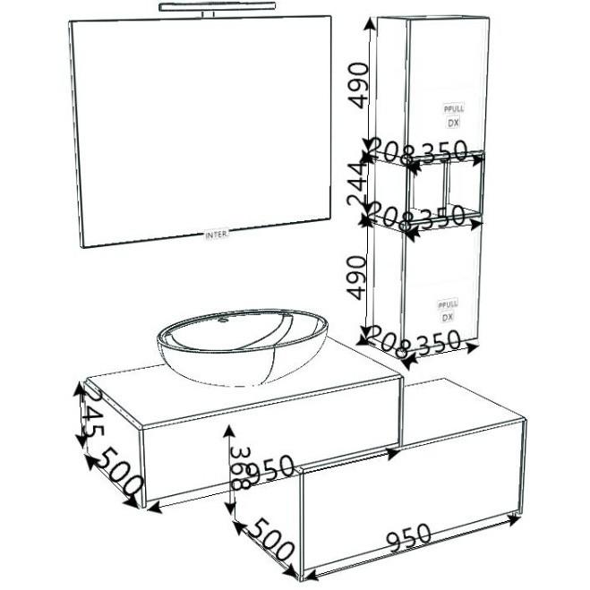 Composizione bagno con mobile con lavabo appoggiato ovale, colonna sospesa e specchio - Inka, Arbi Arredobagno
