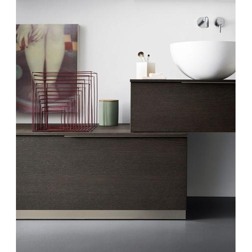 Composizione bagno con mobile, doppio lavabo appoggiato, ripiani a giorni e specchio - Sky 182, Arbi Arredobagno