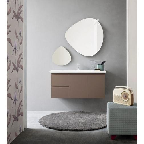 Composizione bagno con profondità ridotta completa di mobile, lavabo e specchio 105x37 cm - Street 34, Arbi Arredobagno