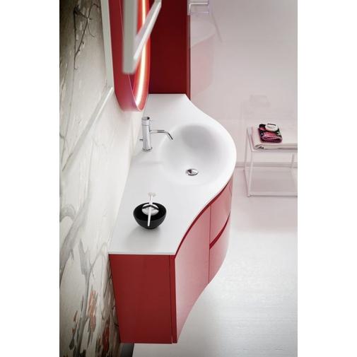 Composizione bagno curva con mobile con lavabo, colonne a terra e specchio rotondo colore rosso - Fusion 2, Arbi Arredobagno