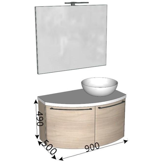 Composizione bagno curva con mobile lavabo e specchio 90x50 cm - Home 62, Arbi Arredobagno
