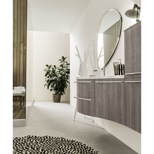 Composizione bagno curva sospesa con mobile lavabo, colonna e specchio a goccia - Fusion 7, Arbi Arredobagno