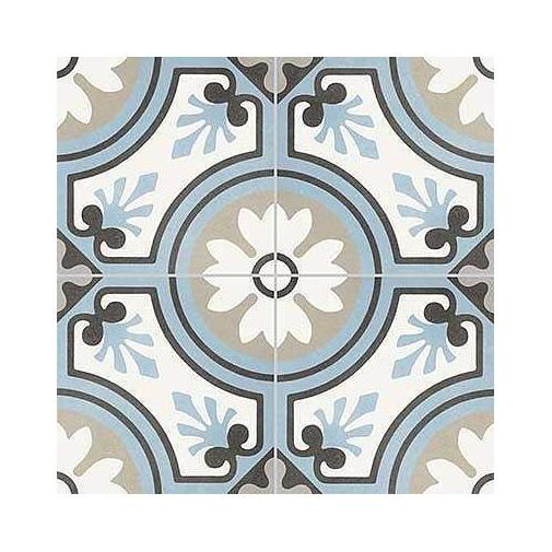 Gres porcellanato decorato, effetto cementina, Grigio Azzurro 8, 20x20 cm - Reverie, Unicom Starker
