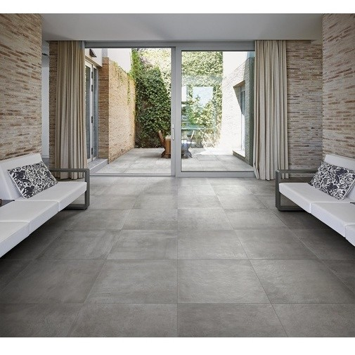Gres Porcellanato effetto cemento, 90x90 cm Grigio - Entropia, Dom Ceramiche