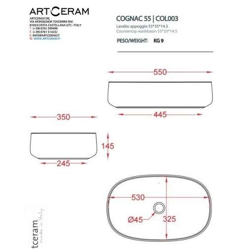 Lavabo d'appoggio ovale in ceramica bianca 55 cm - Cognac, Art Ceram