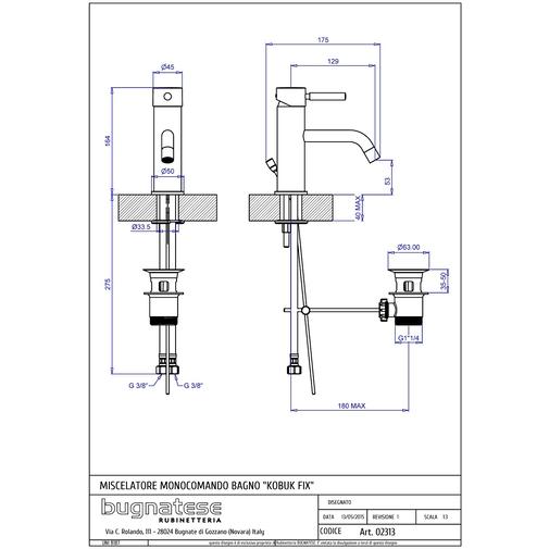 Miscelatore lavabo cromato standard stile minimale - Kobuk Fix, Rubinetteria Bugnatese