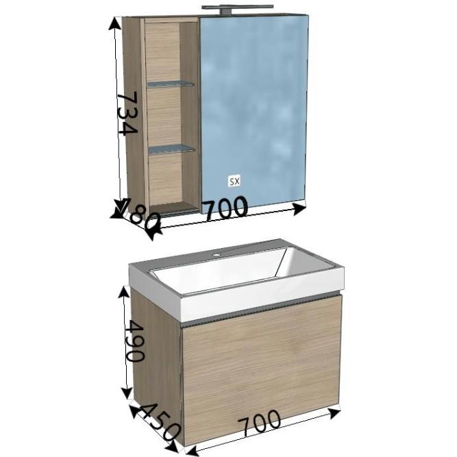 Specchio Da Bagno Con Luci Led.Mobile Da Bagno Moderno Legno Almond 70cm Con Specchiera