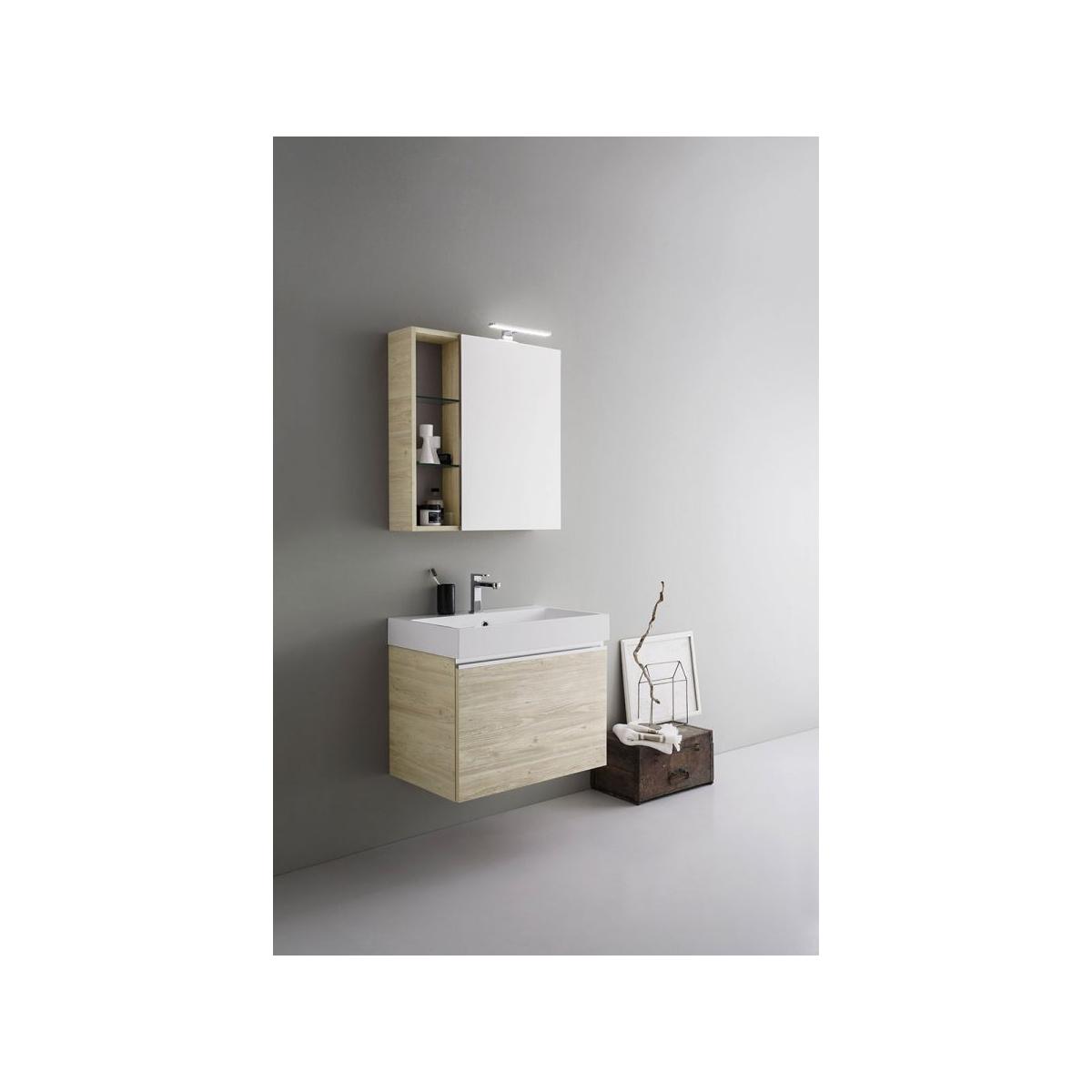 Specchio Bagno Contenitore Led.Mobile Da Bagno Moderno Legno Almond 70cm Con Specchiera