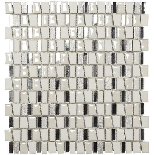 Boxer Kimi Bianco Mosaico Con Tessere Irregolari In Ceramica Ardesia Marmo E Vetro Per Rivestimento 29 5x32 2 Cm