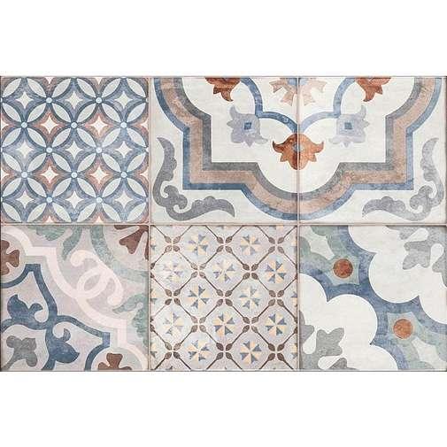Piastrella da rivestimento con decoro patchwork, bianco e blu, 25x38 cm - Neutral, Marazzi