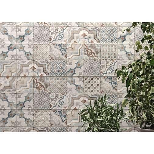 Piastrella da rivestimento con decoro patchwork, bianco e blu, 25x38 cm - Neutral Memory, Marazzi