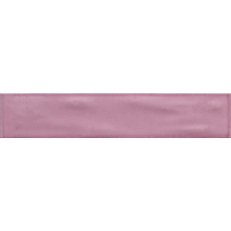 Piastrella da rivestimento lucida effetto mosso, rosa Ametista, 10x50 cm - Aria, Dom Ceramiche