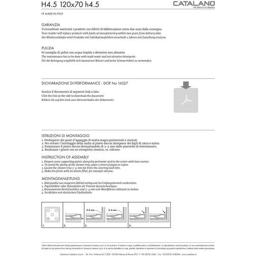 Piatto doccia a basso spessore, antibatterico, in ceramica, colore bianco 70x120x4.5 cm - Catalano