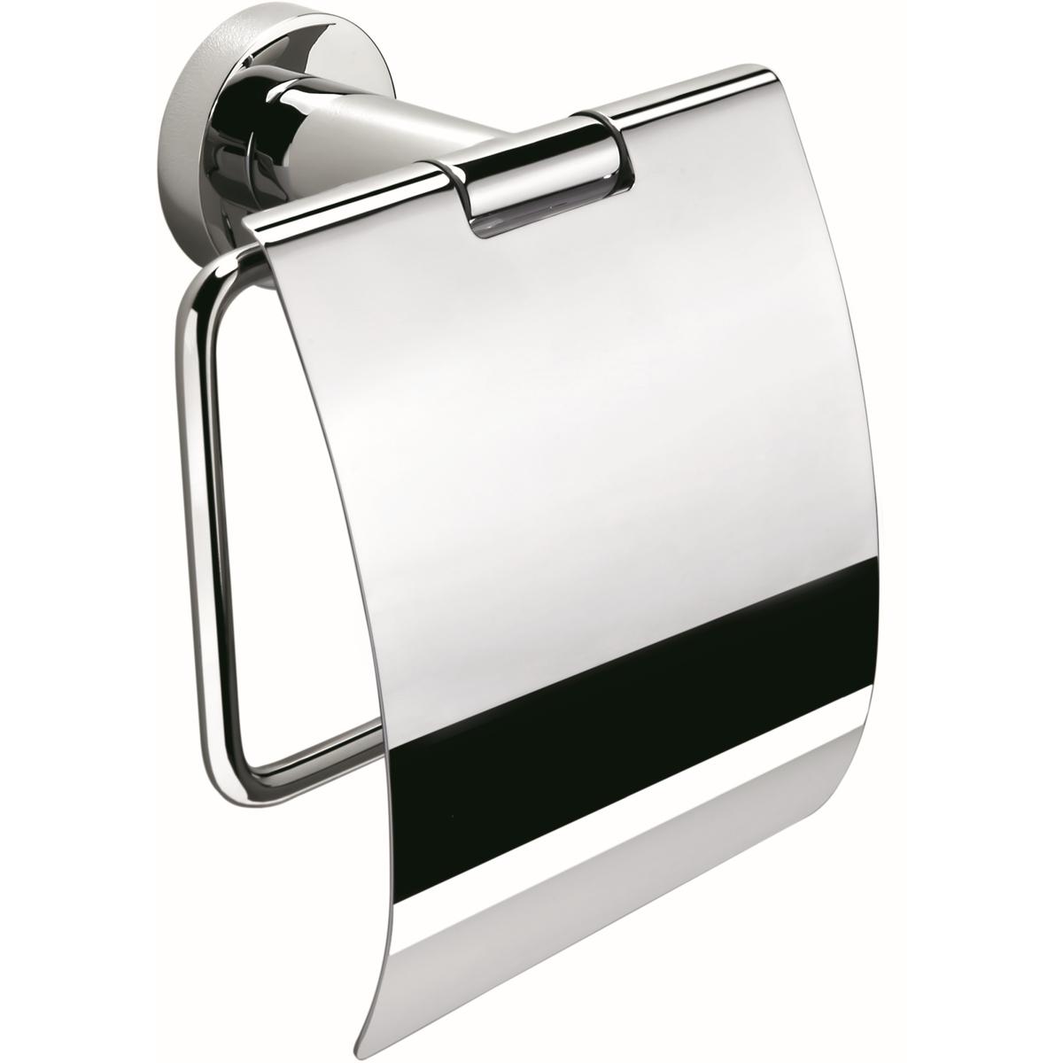 Supporto per rotolo di carta igienica con mosaico argentato.