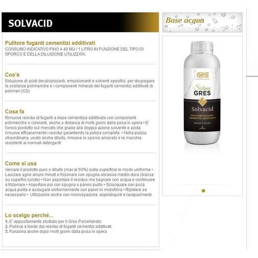 Pulitore per pavimenti in gres porcellanato professionale 1 lt - Solvacid - Geal